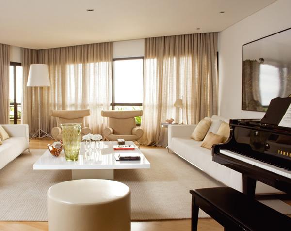 Cortinas para sala de estar dicas e fotos for Cortinas de visillo para sala