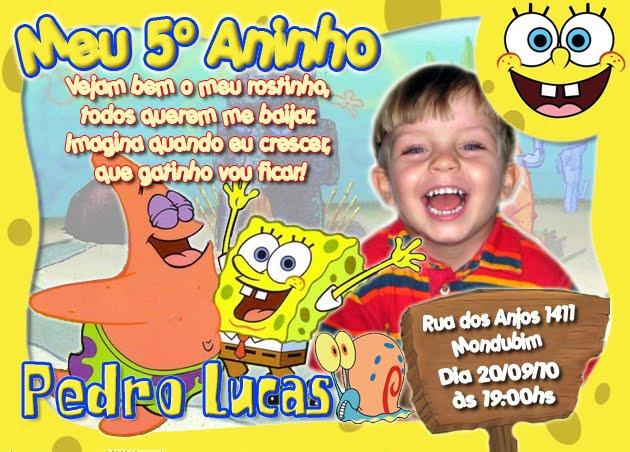 Decoração Festa Bob Esponja Aniversário Infantil Bolos Convites