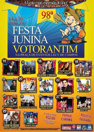 Festa Junina de Votorantim 2013: Datas, Programação