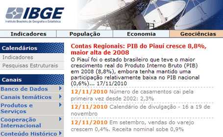 Site do IBGE – www.ibge.gov.br