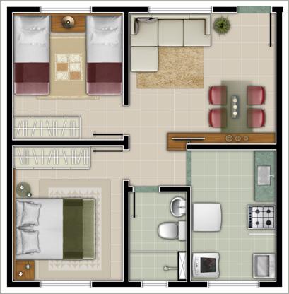 Plantas de casas com 2 quartos dicas e fotos for Casa moderna 7x7