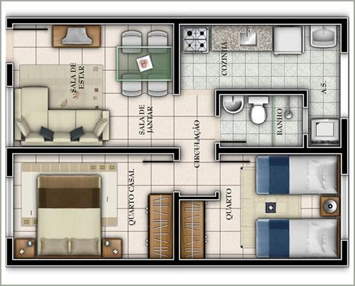 Plantas de casas com 2 quartos fotos e modelos for Casa moderna 7x7