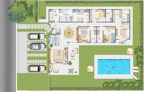Plantas de casas grandes dicas para construir e modelos for Plantas para casa