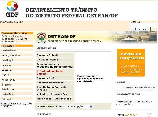 Site Detran DF – www.detran.df.gov.br