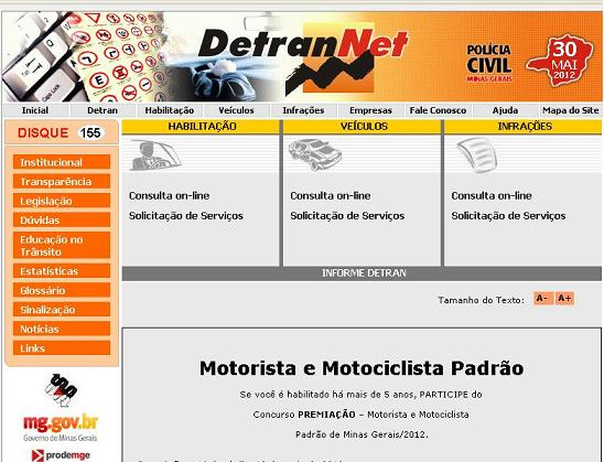 Site Detran MG – www.detrannet.mg.gov.br
