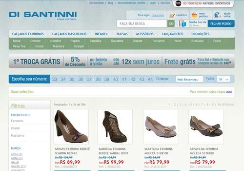 Site Di Santinni – www.disantinni.com.br