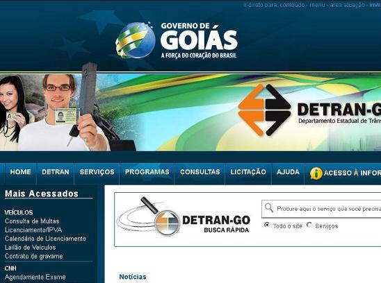 Site Detran GO – www.detran.goias.gov.br