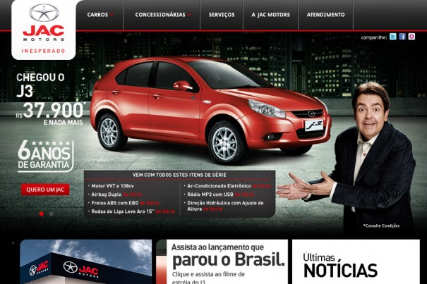 Site JAC Motors &#8211; www.jacmotorsbrasil.com.br