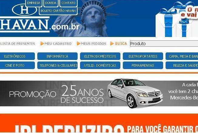 Site Lojas Havan: www.havan.com.br