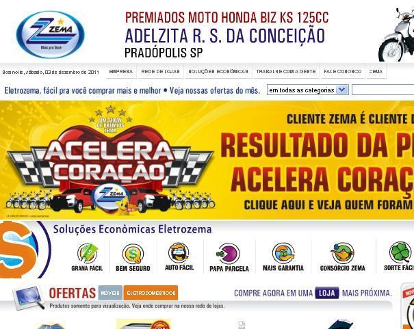 Site Lojas Eletrozema – www.eletrozema.com.br