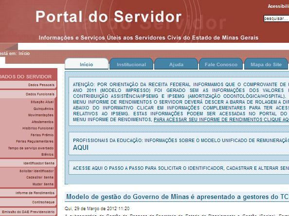 Site Portal do Servidor MG – www.portaldoservidor.mg.gov.br