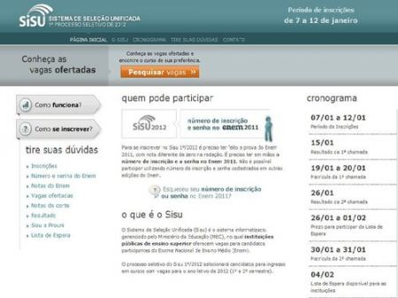 Site do Sisu 2012 – sisu.mec.gov.br