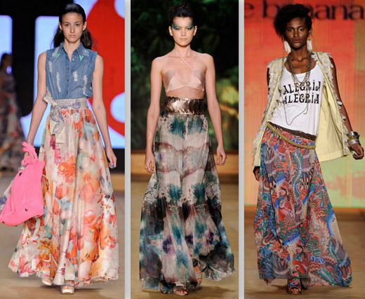 Vestidos e Saias Longas, Moda Primavera Verão 2013