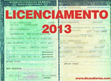 Tabela de Licenciamento MG 2013