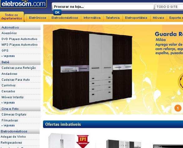 Site Lojas Eletrosom – www.eletrosom.com