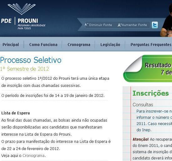 Site do ProUni – www.siteprouni.com.gov.br