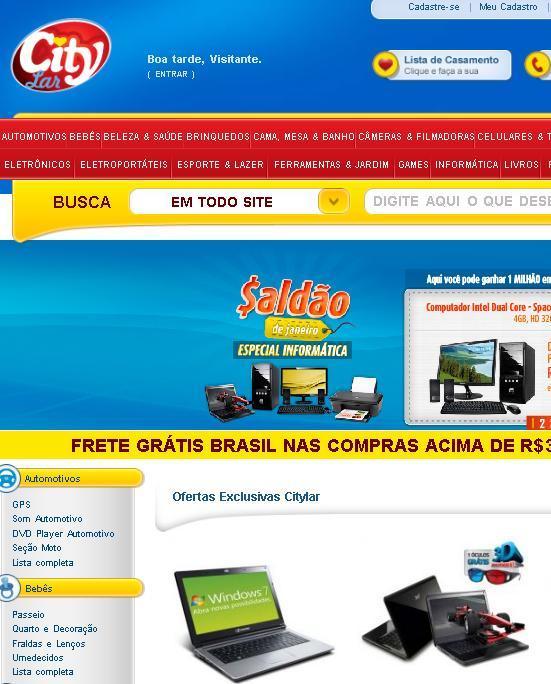 Site Lojas City Lar – www.citylar.com.br