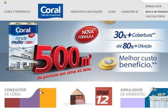 Site Tintas Coral – www.coral.com.br